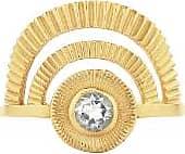 Zoe & Morgan Gold mit weißem Zirkon Goldener Stundenring - LARGE - Gold/White