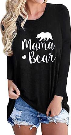 Dresswel Women Mama Bear Pullover Long Sleeve Tops Crew Neck T-Shirt Bear Graphic Jumper Blouse Black