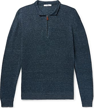 Inis Meáin Aloe Mélange Linen And Cotton-blend Half-zip Sweater - Storm blue