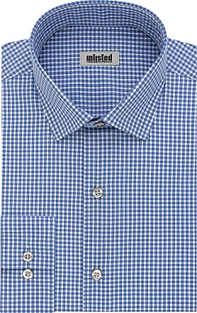 Unlisted by Kenneth Cole mensDress Shirt Slim Fit Checks and Stripes (Patterned) Spread Collar Long Sleeve Dress Shirt - Blue - 16-16.5 Neck 34-35 Sleeve (Large)