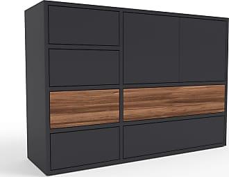 MYCS Kommode Schwarz - Lowboard: Schubladen in Schwarz & Türen in Schwarz - Hochwertige Materialien - 116 x 80 x 35 cm, konfigurierbar