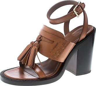 830ea50bc985 Burberry Cognac Brown Leather Bethany Tassel Detail Block Heel Sandals Size  38