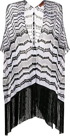 Missoni Poncho de tricô com franjas - Preto