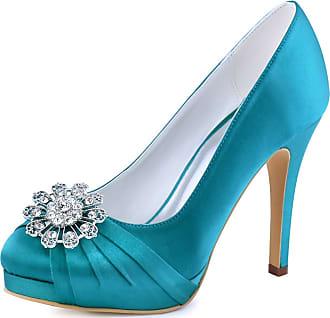 Elegantpark EP2015-PF Women Pumps Closed Toe Platform High Heel Buckle Satin Evening Wedding Court Shoes Tea UK 6 Teal