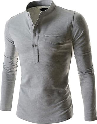 YYW Mens Casual Slim Fit Henley Buttons Grandad Neck T-Shirt Long Sleeve with Pocket (Light Grey,XXL)