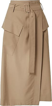 Vince Belted Twill Wrap Skirt - Tan