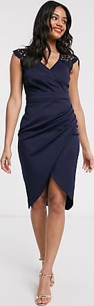 Lipsy Vestito longuette con scollo profondo e inserti in pizzo blu navy