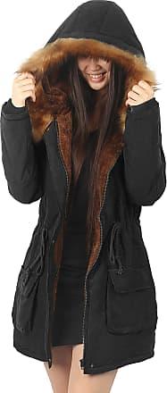 iLoveSIA Womens Winter Warm Coat Faux Fur Lined Parka Black UK 18