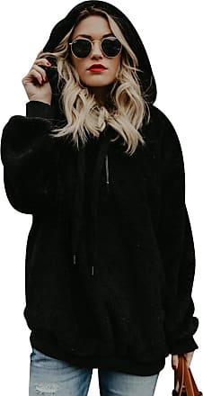Isshe Womens Fluffy Thick Fleece Hoodie Sweatshirt Pullover Ladies Quarter Zip Fuzzy Double Fleece Jumper With Pockets Outwear Long Sleeve Zipper Oversized