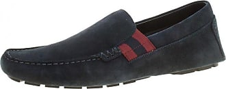 3723f1c8c7769a Gucci Navy Blue Suede Web Detail Loafers Size 44