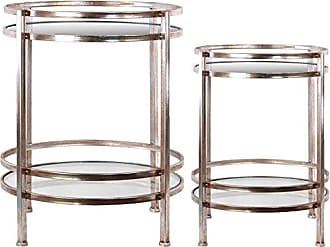 Urban Trends Collection Urban Trends Round Table with Beveled Mirror Top and Clear Glass Base Shelf Metal Finish (Set of 2), Orange