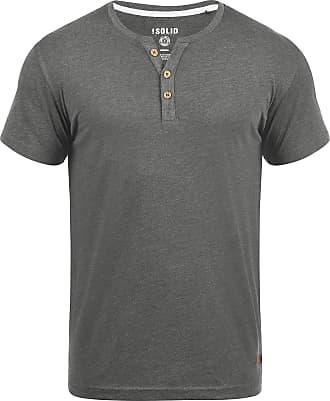 Solid Volker Mens T-Shirt Short Sleeve Shirt Tee with Grandad Collar, Size:S, Colour:Grey Melange (8236)