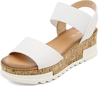 Dream Pairs Womens Open Toe Ankle Elastic Strappy Casual Flatform Platform Sandals White Size 8.5 US/ 6.5 UK Reed-2