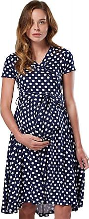 Happy Mama Womens Maternity Midi Skater Dress Nursing Access Short Sleeve.598p (Navy with Dots, UK 14, XL)
