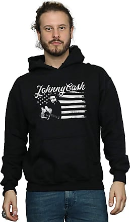 Absolute Cult Johnny Cash Mens Flag Stripes Hoodie Black Large