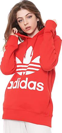 adidas Originals Moletom Fechado adidas Originals Trefoil Hoodie Vermelho