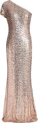 Badgley Mischka Badgley Mischka Woman One-shoulder Sequined Tulle Gown Rose Gold Size 16