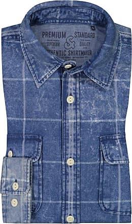 Jack & Jones Übergröße : Jack & Jones, Freizeithemd mit Überkaro in Blau für Herren