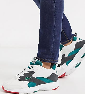 Lacoste storm chunky trainers in white green