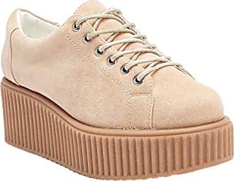 Truffle Dino01 Nude Creepers Lace Up Flatforms Ladies Shoes[Ladies UK 4 / EU 37]