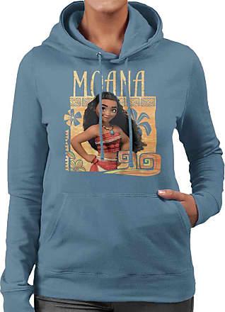 Disney Moana Floral Frame Womens Hooded Sweatshirt Indigo Blue