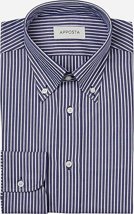 Apposta Camicia righe blu 100% puro cotone popeline, collo stile button down