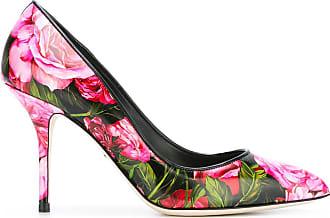 Dolce & Gabbana Sapato floral de couro - Preto