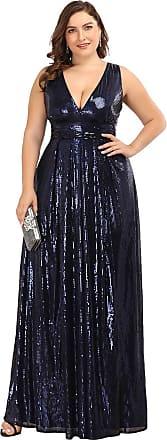 Ever-pretty Womens V Neck Plus Size Long Sequin Ball Evening Dresses A Line Navy Blue 18UK