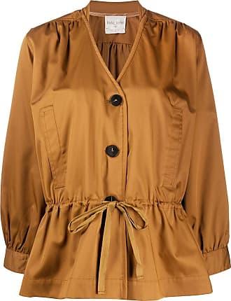 Forte_Forte v-neck shirt jacket - Brown