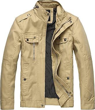 Wantdo Mens Slim Fit Military Casual Jacket Khaki Small