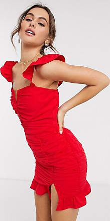 In The Style x Jac Jossa plunge frill sleeve detail ruched mini dress in red-White