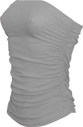 Janisramone Womens New Boobtube Bandeau Strapless Top Ladies Both Side Ruched Crop Bra Vest Top Grey