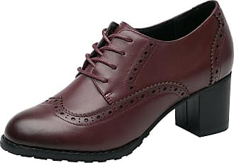 Rismart Womens Brogue Pointed Toe Wingtips Leather Oxfords Lace-Up Flats SN02110(Burgundy,UK5.5)