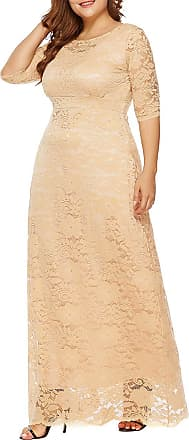 FeelinGirl Womens Floor Lentgh Lace Dress Empire Waist 3/4 Sleeves Cocktail Plus Size Elegant Skirt Sexy Evening Gown Beige XL