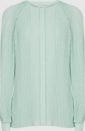Reiss Editha - Pleat Detailed Blouse in Aqua, Womens, Size 14