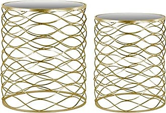 Urban Trends Collection Urban Trends Metal Round Nesting Accent Table with Mirror Top and Round Base (Set of 2), 14 by 14 by 17.75, Gold