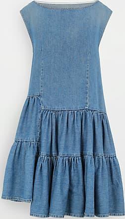 Maison Margiela Asymmetric Ruffle Denim Dress