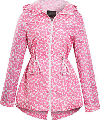 Shelikes Womens Ladies Heart Print Fishtail Monochrome Lightweight Hooded Mac [White with Pink Hearts UK 16]