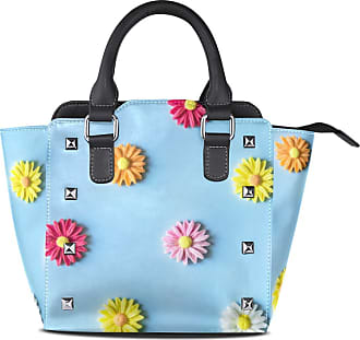 NaiiaN City Light Weight Strap Tote Bag Purse Shopping Leather Colorful Daisy Flowers Cute Handbags for Women Girls Ladies Student Shoulder Bags