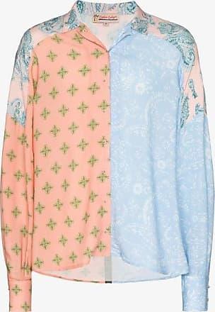 Esteban Cortazar Mens Blue Paisley And Star Print Oversized Shirt
