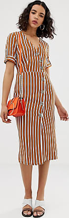 River Island midi dress with button detail in stripe-Brown