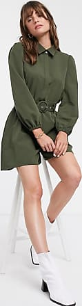 Glamorous relaxed belted playsuit with button collar-Green