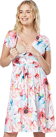 Happy Mama Womens Maternity Midi Skater Dress Nursing Access Short Sleeve.598p (Off White and Pastel Flowers, UK 14, XL)