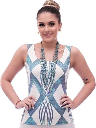 FicaLinda Regata Feminina Estampa Geométrica Exclusiva Azul com Penas de Pavão Decote Redondo