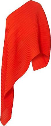 Solace London Sierra One-shoulder Asymmetric Plissé-chiffon Top - Red