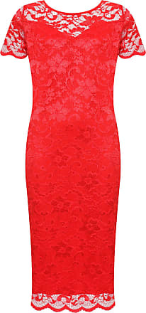 WearAll Plus Size Womens Lace Lined Ladies Short Sleeve Bodycon Midi Dress - Red - 30-32