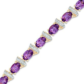 bca4201ce Zales Oval Amethyst and Diamond Accent Link Bracelet in 10K Gold Vermeil -  7.25