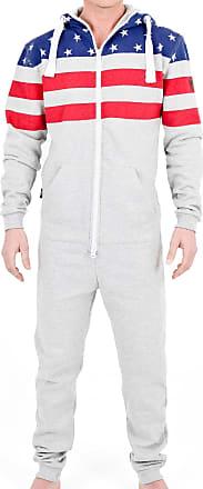 e5c1481ed Juicy Trendz Premium Mens US Flag One Zip Onesie Hoodie Hoody Jumpsuit  Playsuit Tracksuit, Grey