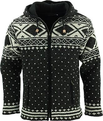 Loud Elephant Wool Knit Fairisle Hooded Jacket - Charcoal (X-Large)