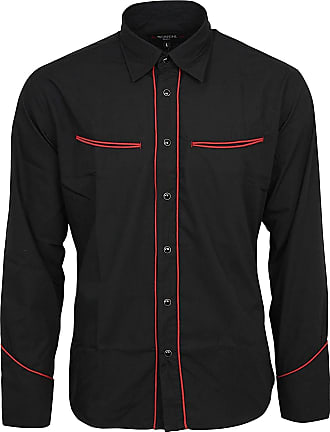 Relco Plain Black Western Cowboy with Red Piping Long Sleeved Shirt, X-Large